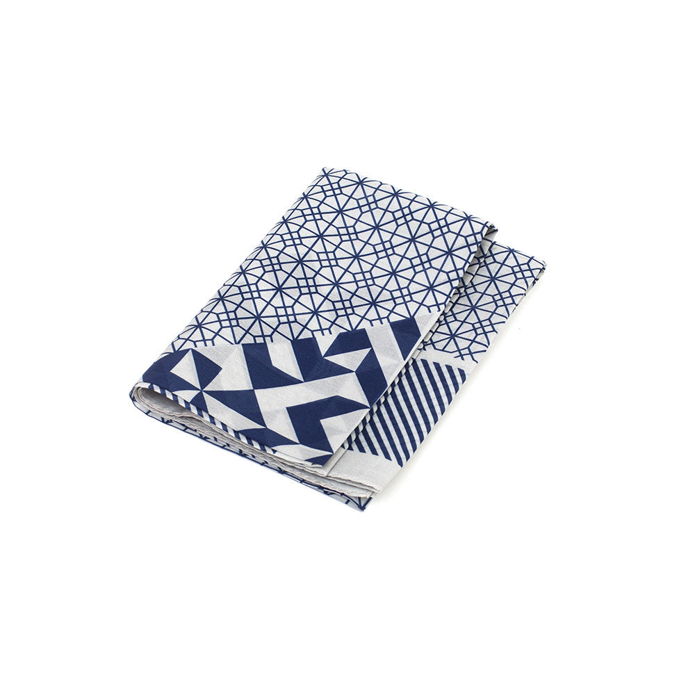 Silk-Cotton Bandana GRYBLU#06 65x65