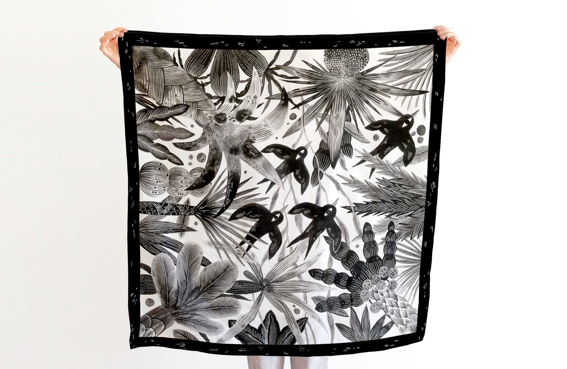 Birds Scarf - 88x88 cm, Cotton-Silk Blends