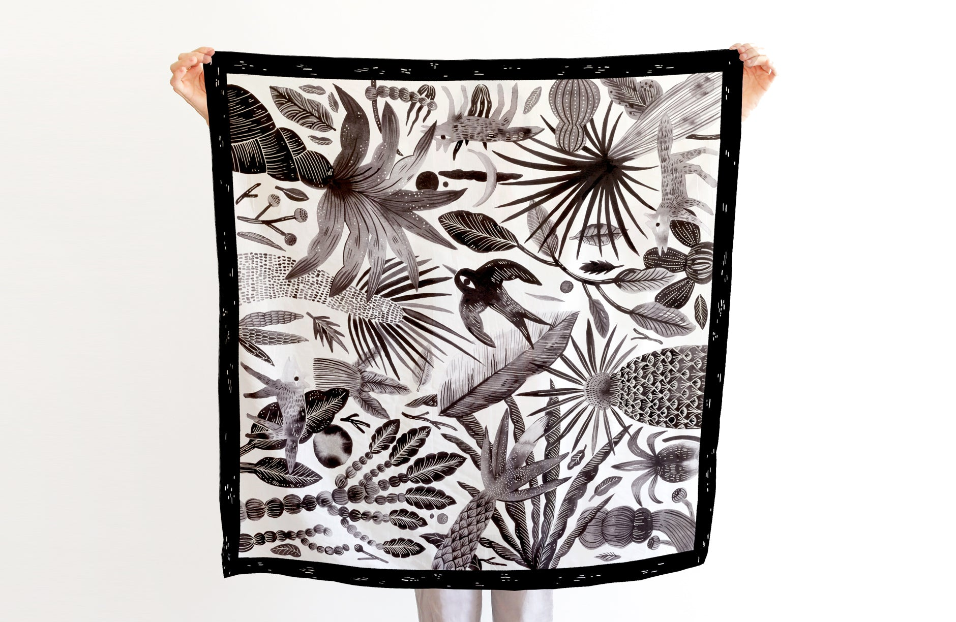 Forest Scarf, 88x88 cm, Cotton-Silk Blends