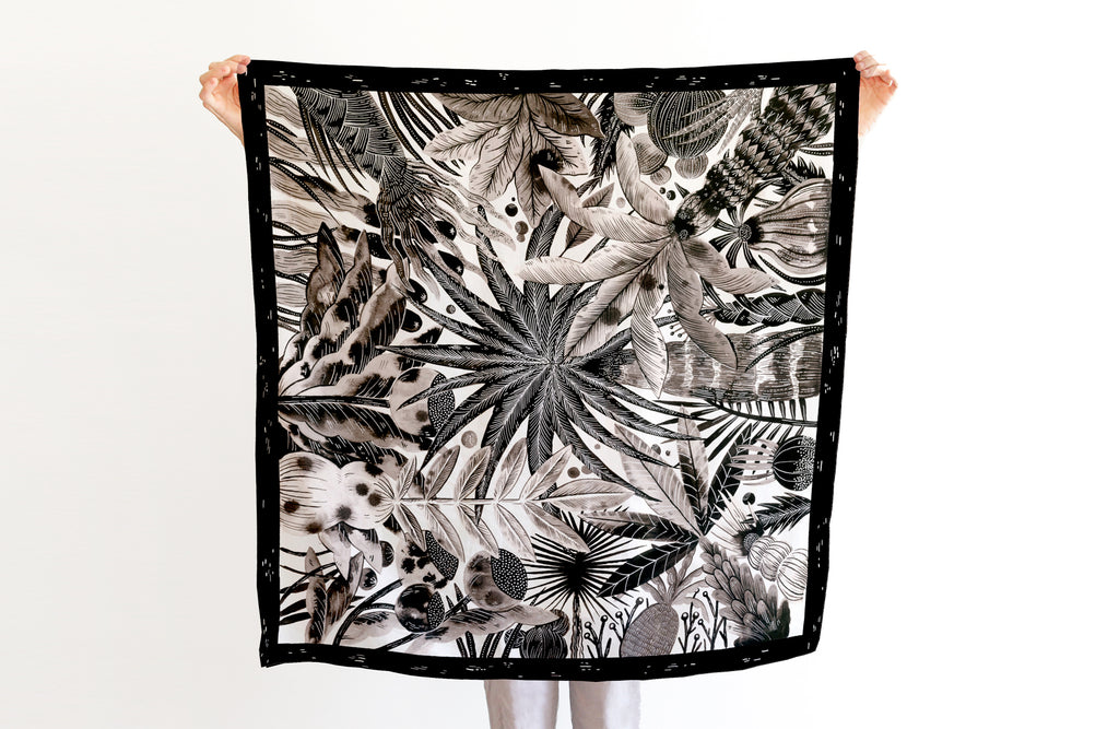 Plantation Scarf, 88x88 cm, Cotton-Silk Blends