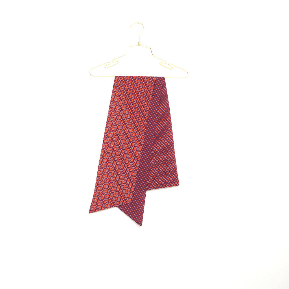 Silk-Cotton Skinny Scarf WINE#06 210x16