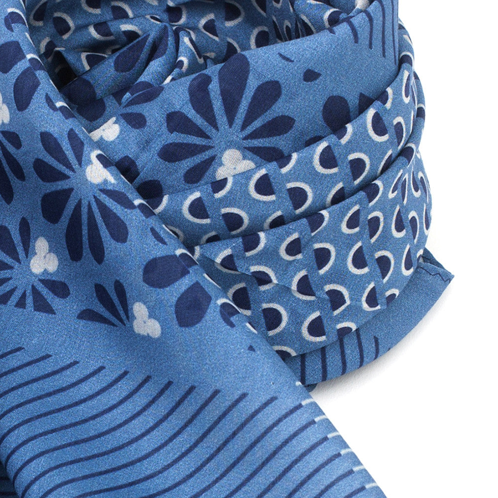 Silk-Cotton Scarf SMKBLU#01 88x88