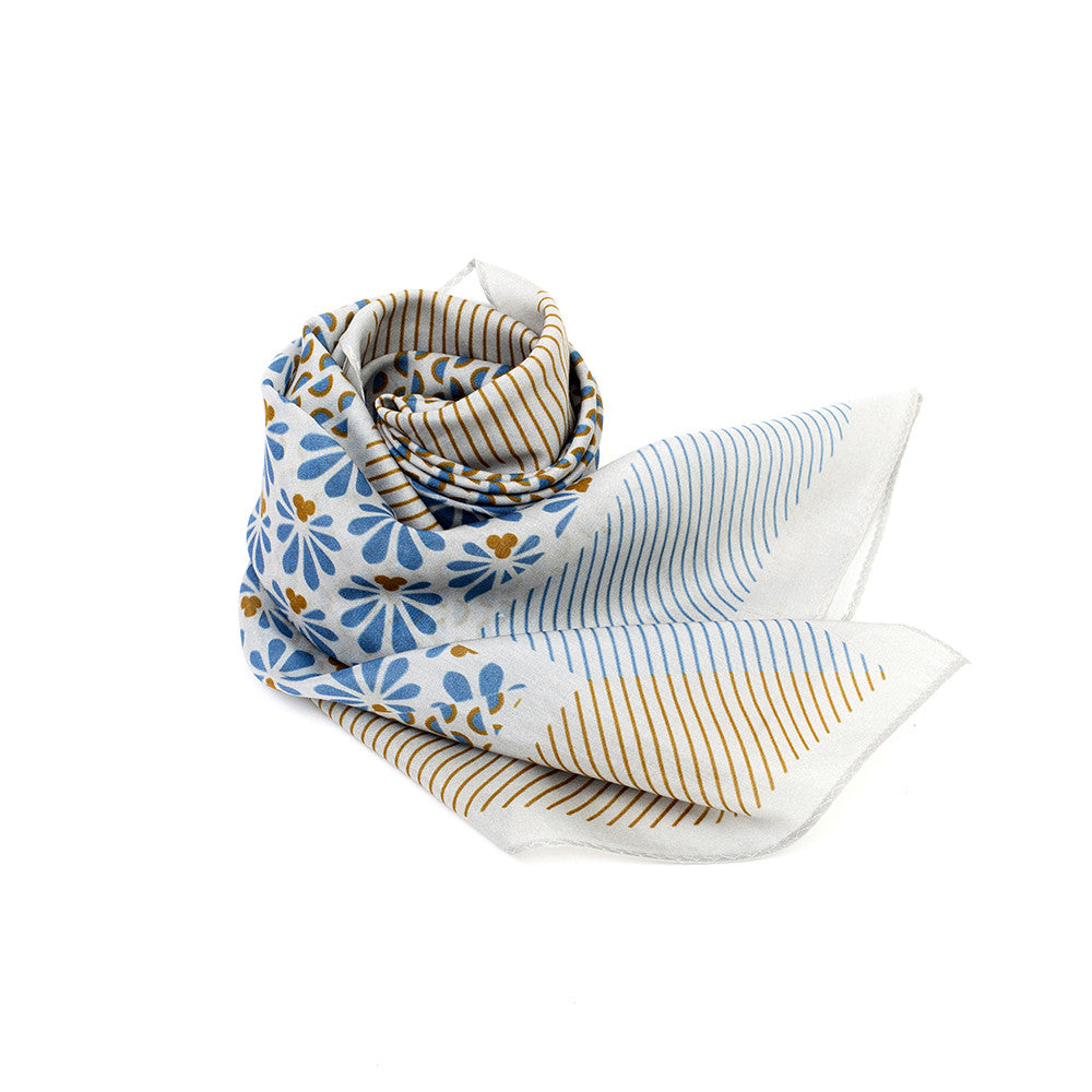 Silk-Cotton Scarf SMKBLU#03 88x88