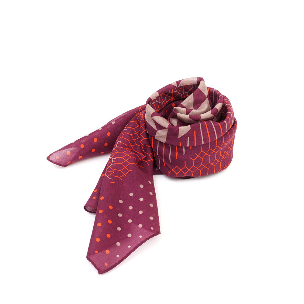 Silk-Cotton Bandana WINE#01 65x65