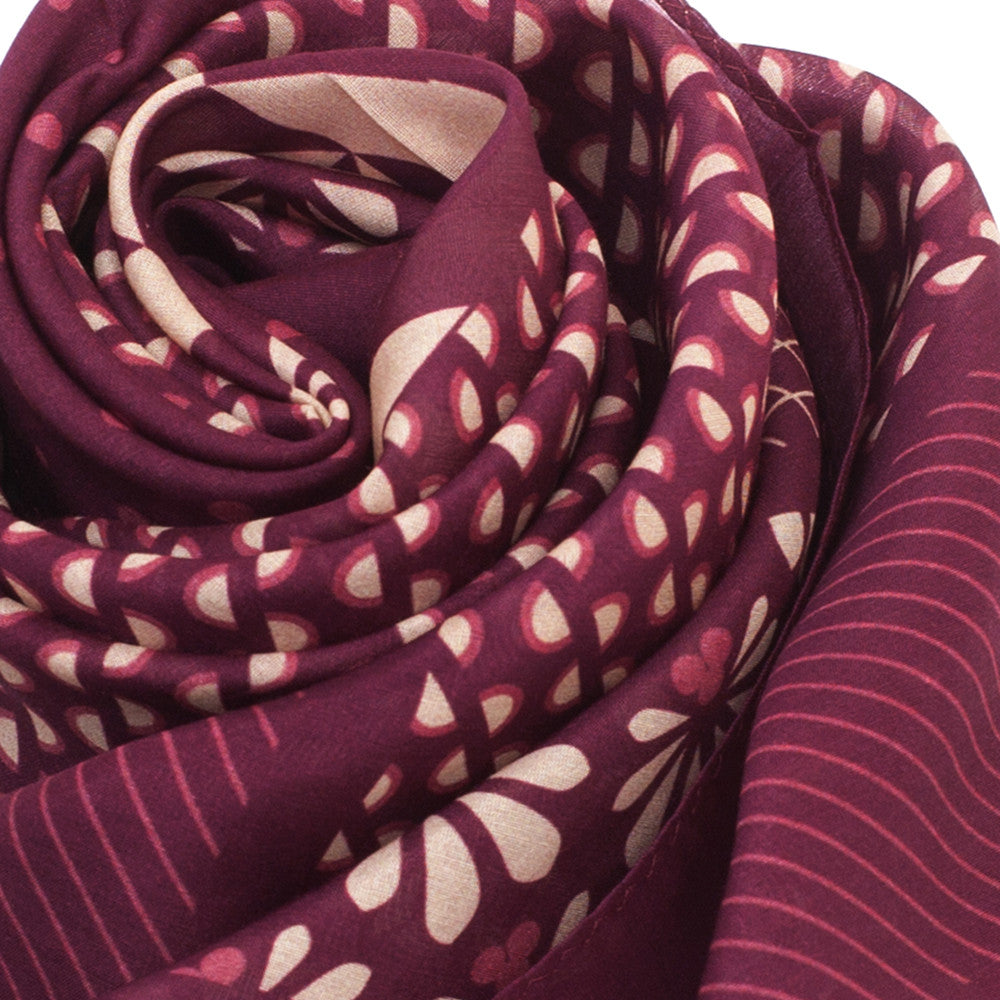 Silk-Cotton Scarf WINE#05 88x88