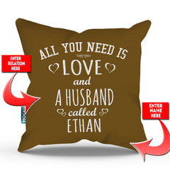Personalized All You Need is Love Throw Pillow Cover - 18
