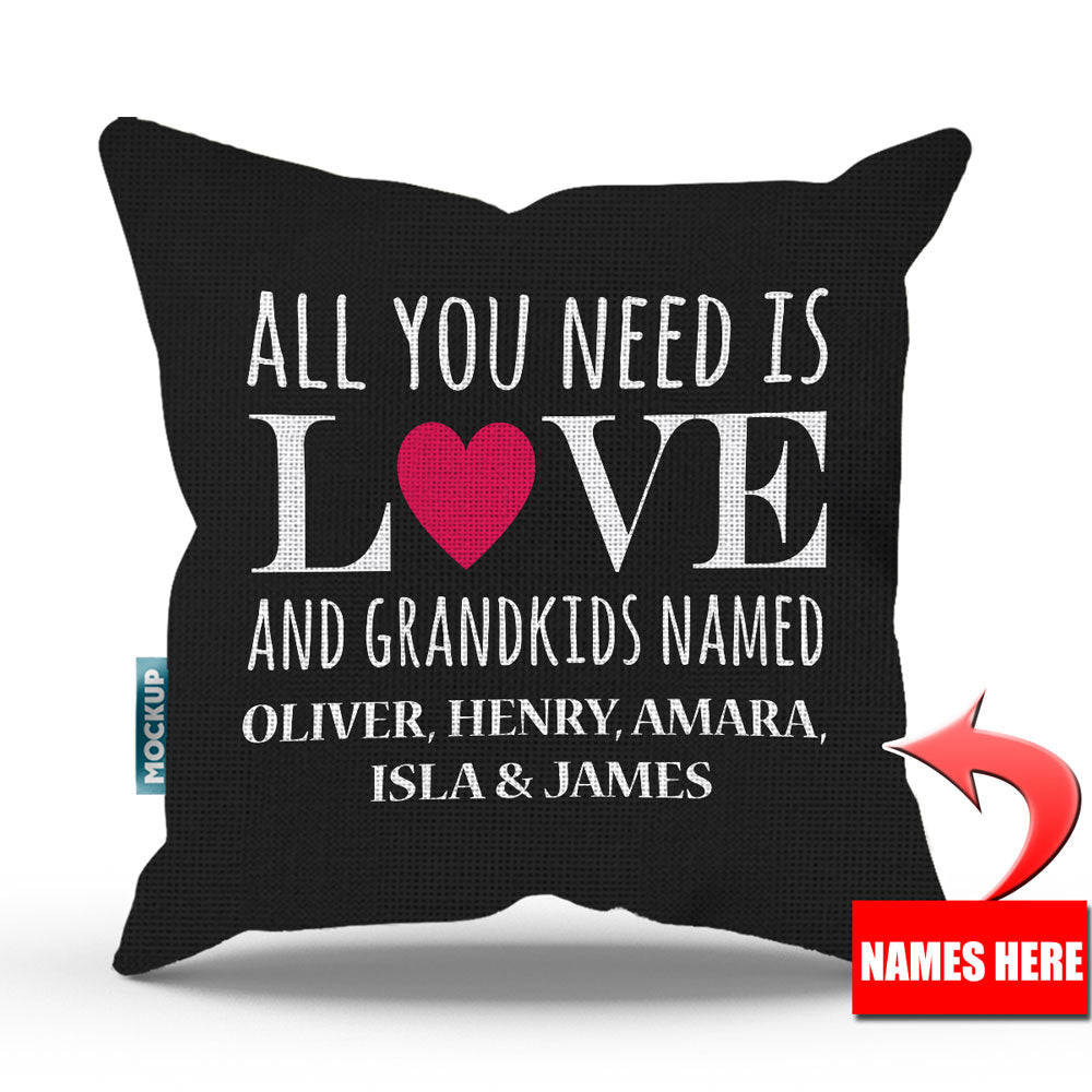 Personalized All You Need Is Love And Grandkids Throw Pillow Cover   18