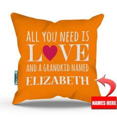Personalized All You Need is Love and Grandkids Throw Pillow Cover - 18