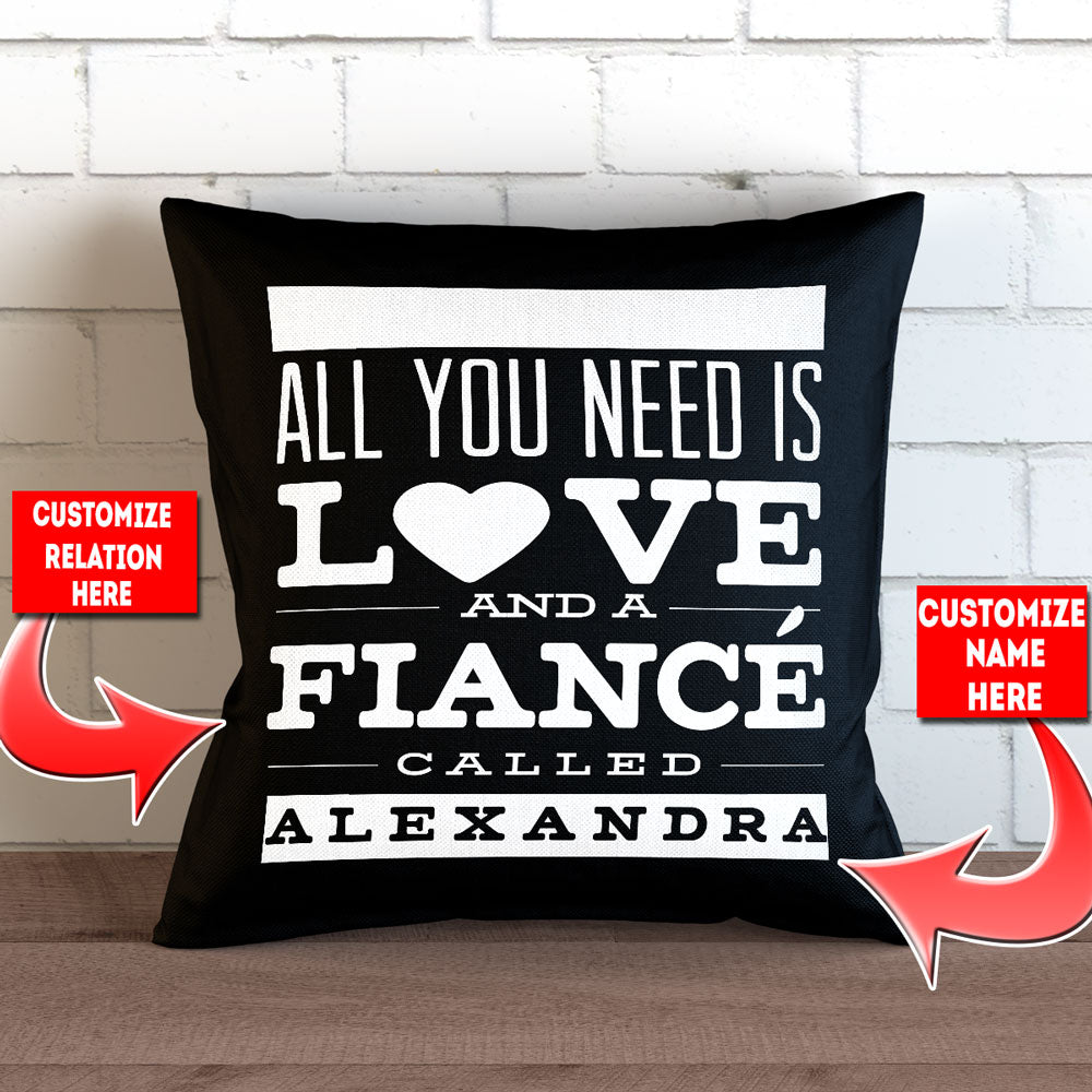 "Personalized All You Need is Love Throw Pillow Cover - 18"" X 18"" – Style 2"