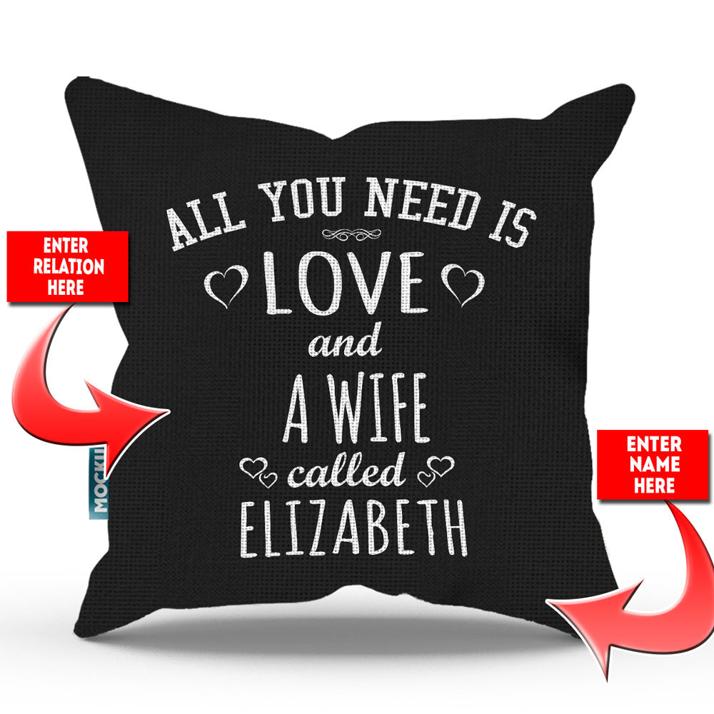 "Personalized All You Need is Love Throw Pillow Cover - 18"" X 18"""