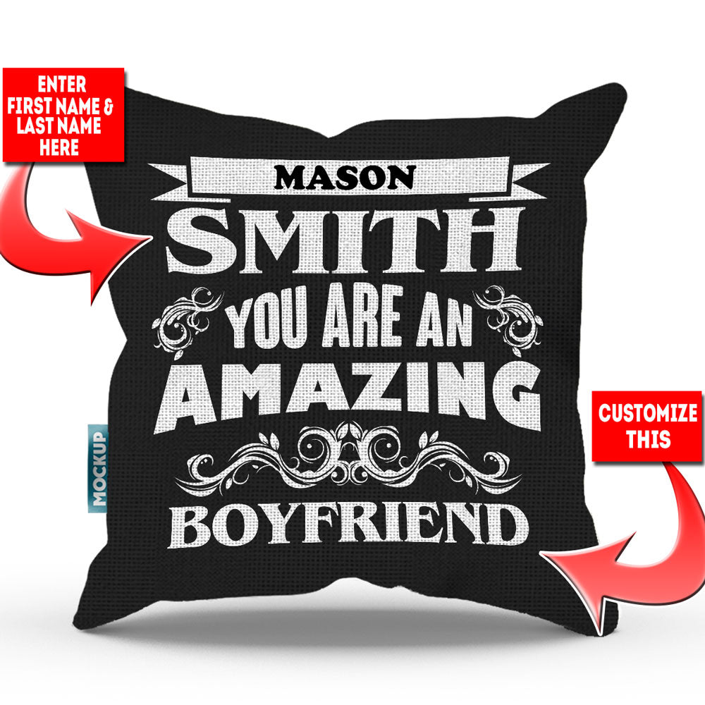 "Personalized Amazing Partner Throw Pillow Cover - 18"" X 18"""