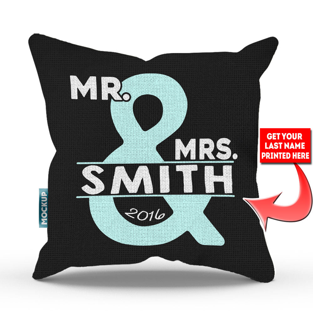 "Personalized Mr and Mrs Throw Pillow Cover – Style 2 - 18"" X 18"""