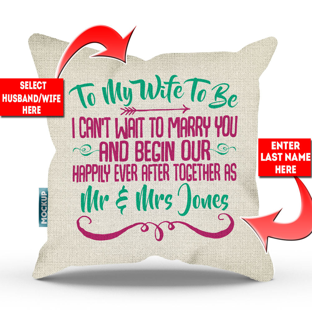"Personalized Can't Wait For Happily Ever After Throw Pillow Cover - 18"" X 18"""
