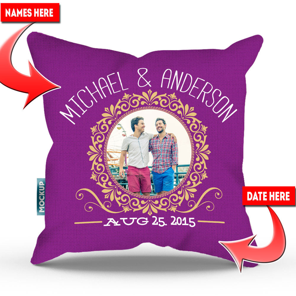 New Personalized Couple Photo Throw Pillow Cover - 18