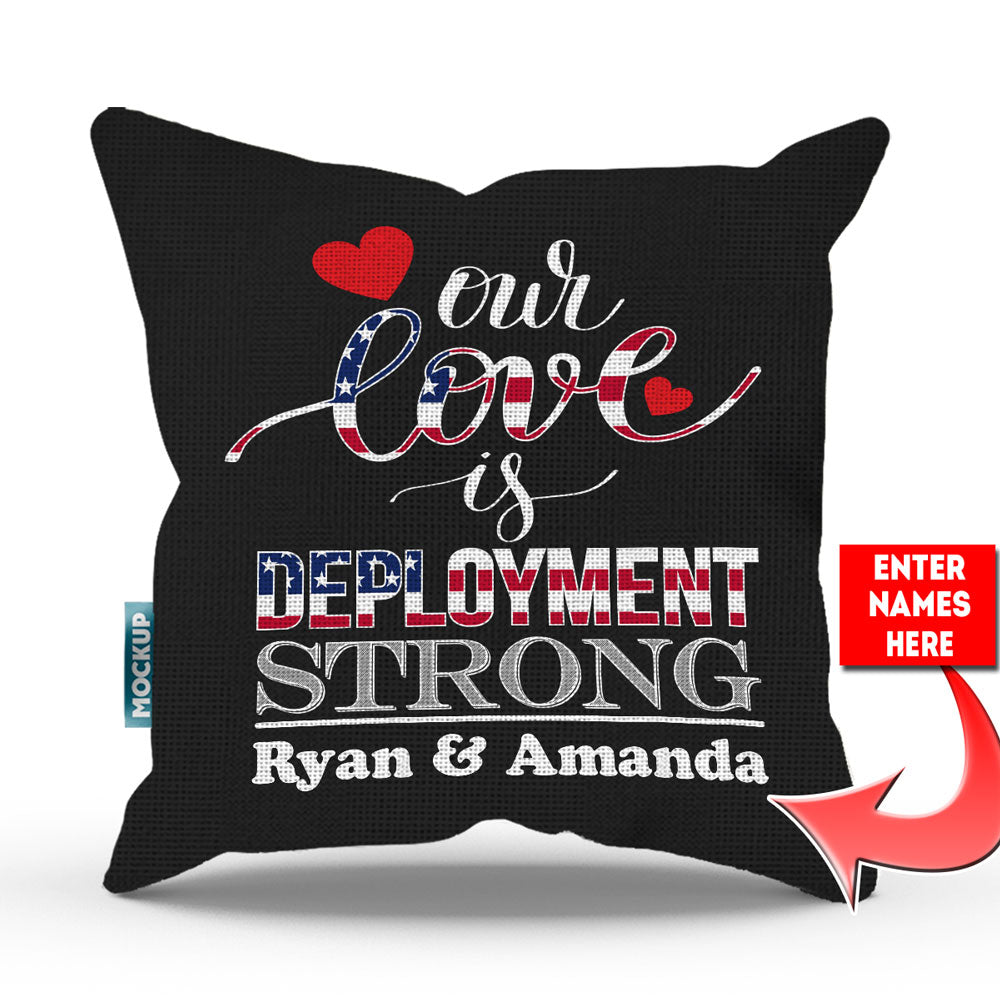 "Personalized Deployment Strong Throw Pillow Cover - 18"" X 18"""