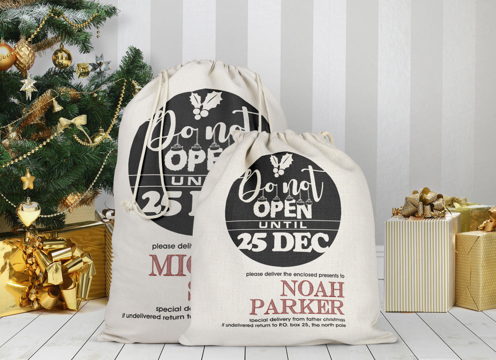 Personalized Do Not Open Christmas Sack Bag