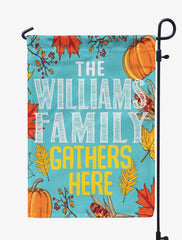 Personalized Thanksgiving Family Gathers Here Flag