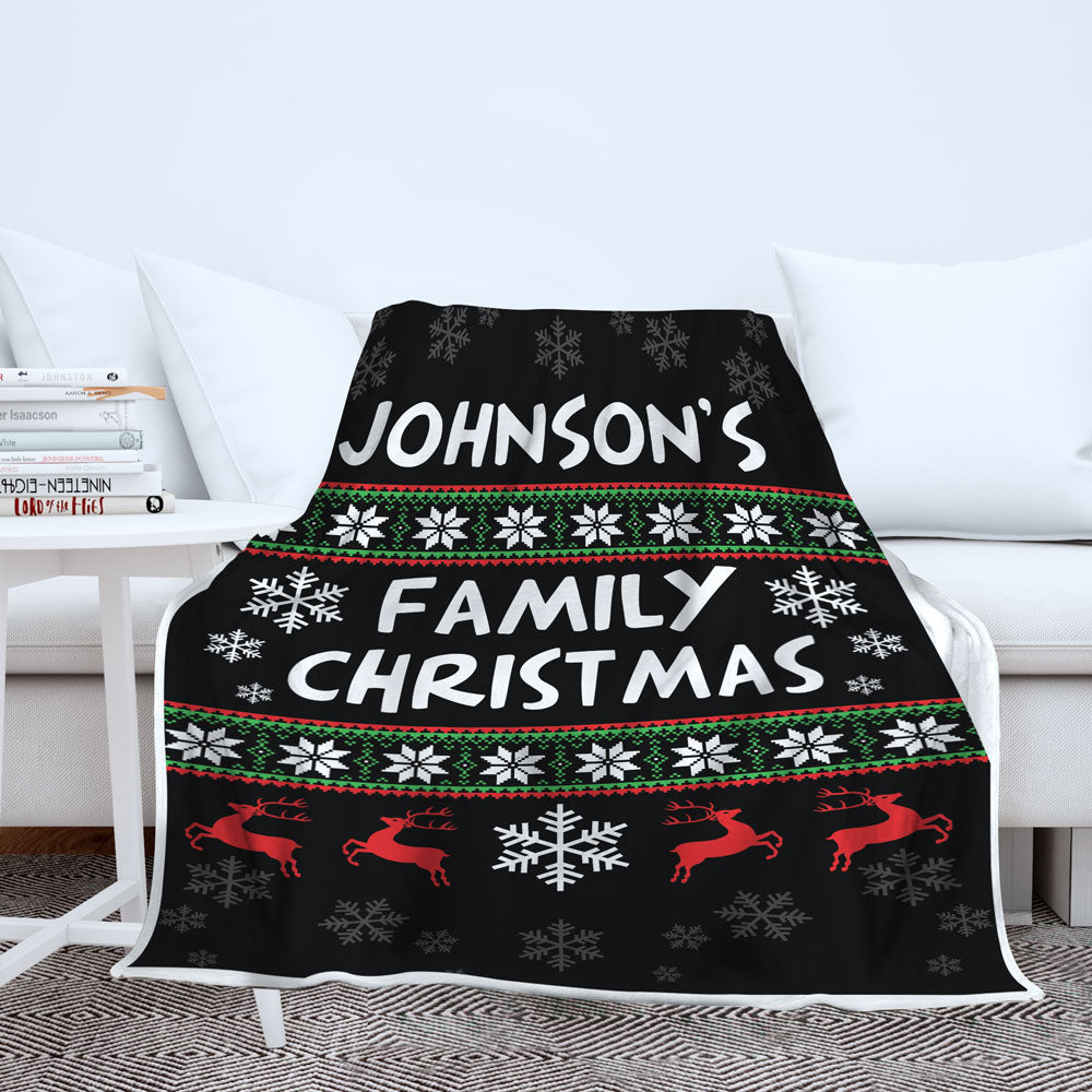 Personalized Family Name Ugly Christmas Blanket
