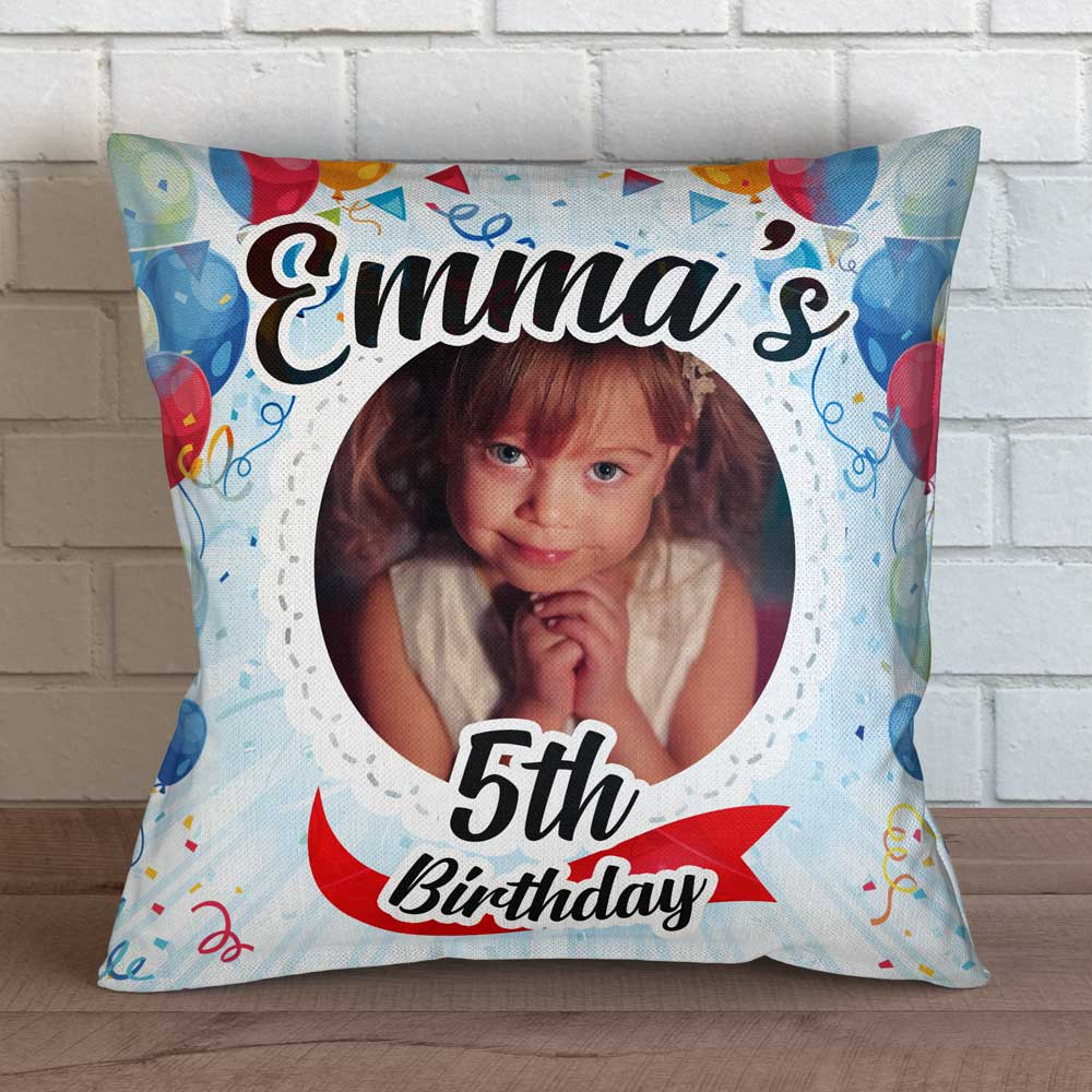 "Personalized First Birthday Photo Throw Pillow Cover - 18"" X 18"""
