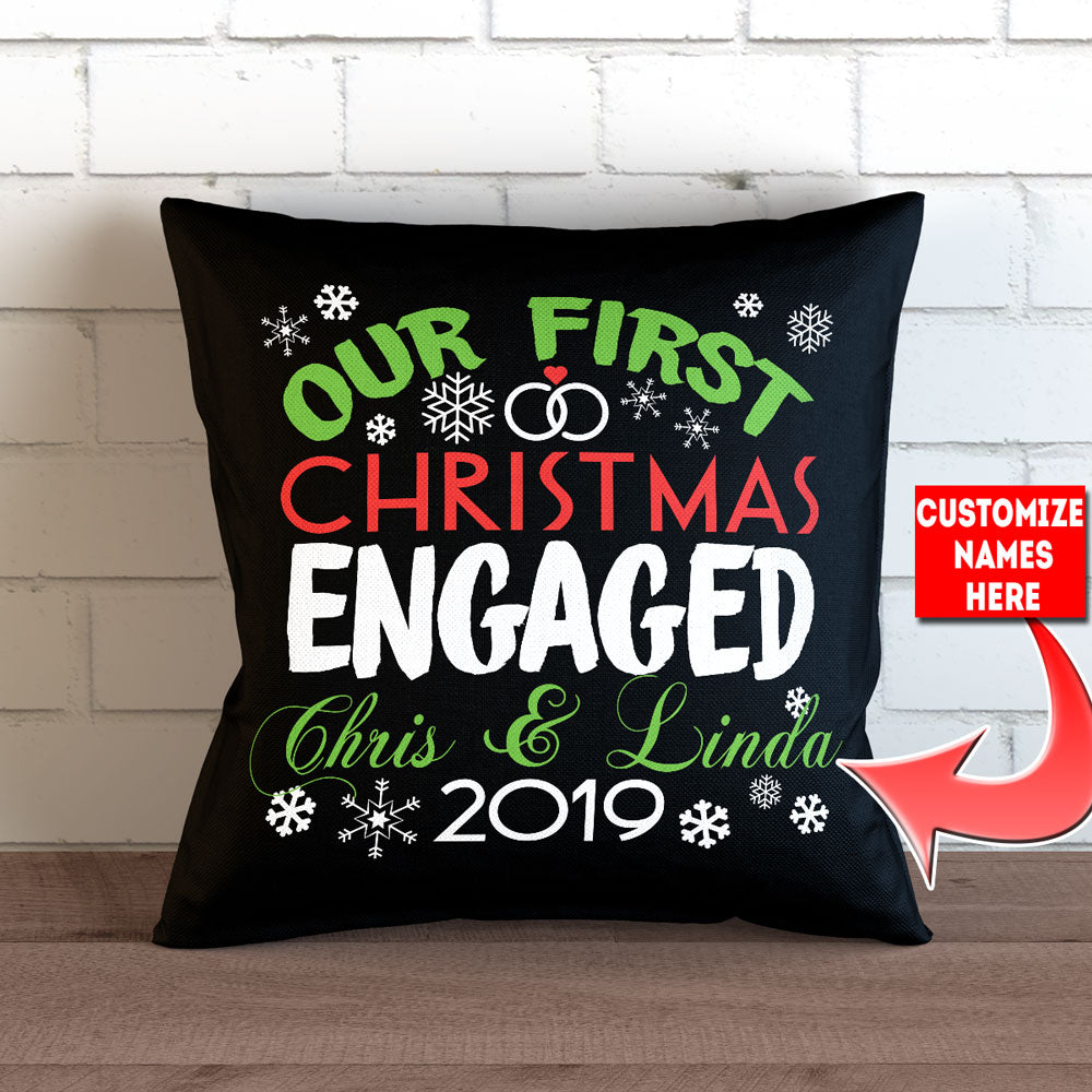 "Personalized Our First Christmas Engaged Throw Pillow Cover - 18"" X 18"" - Style 1"
