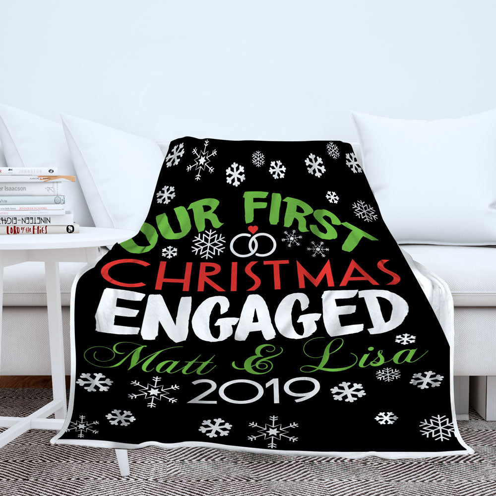 Personalized Our First Christmas Engaged Blanket - Style 1