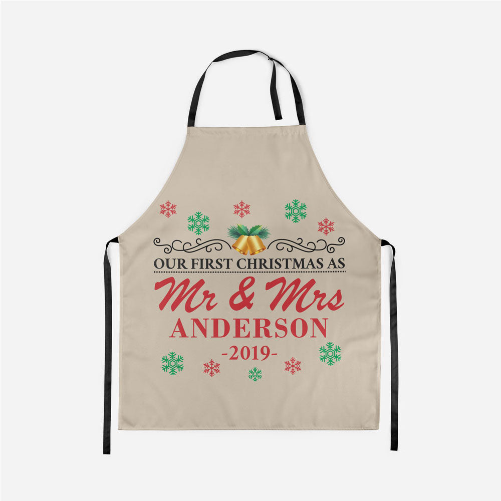 Personalized Our First Christmas As Mr. and Mrs. Apron