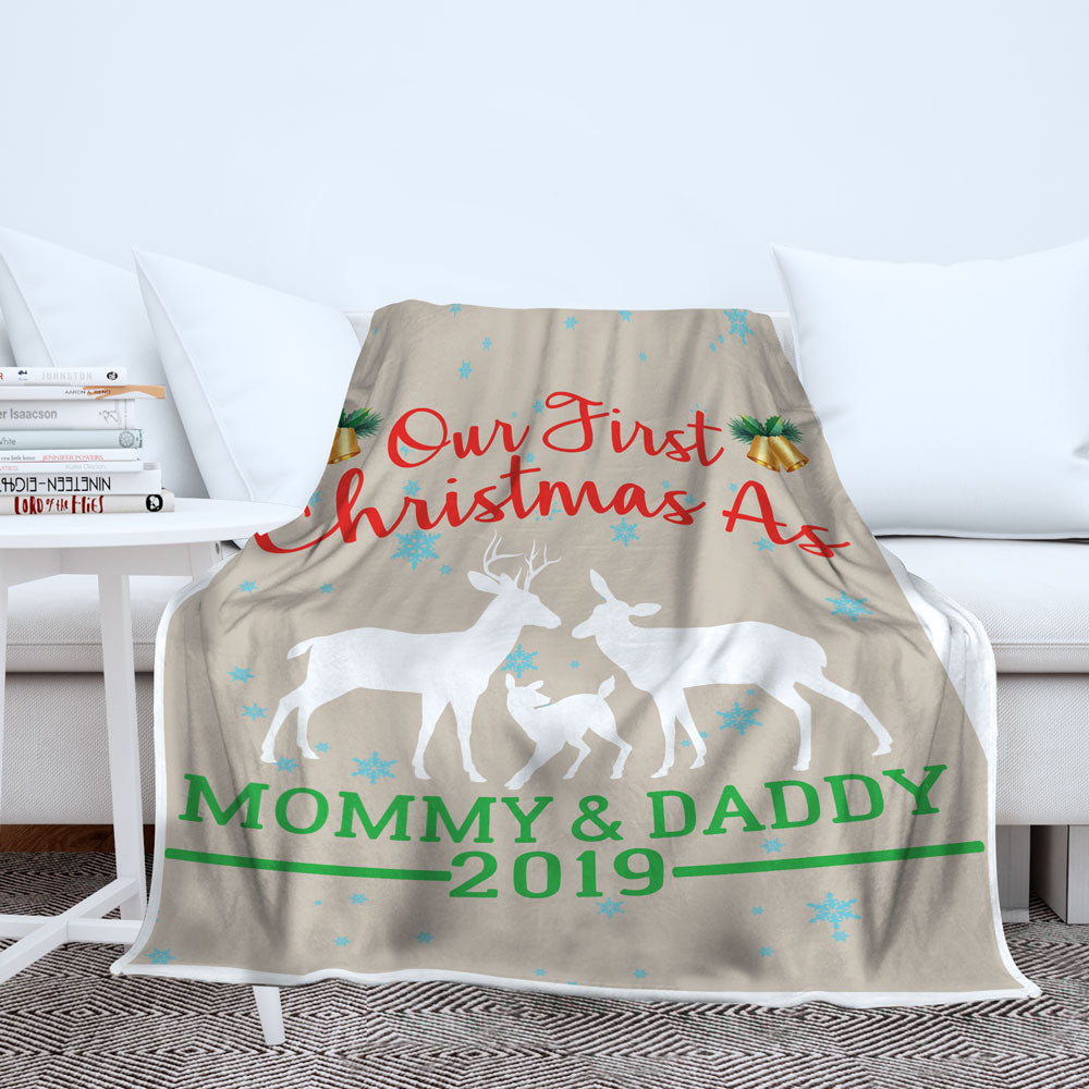 Personalized First Christmas As Mom And Dad Blanket
