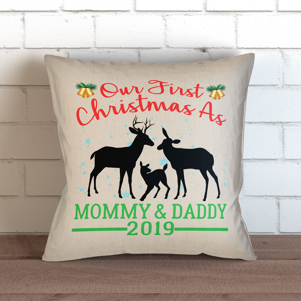 "First Christmas as Mom and Dad Throw Pillow Cover - 18"" X 18"""
