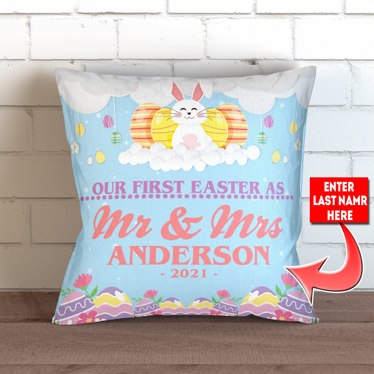 "Personalized Our First Easter As Mr and Mrs Throw Pillow Cover - 18"" X 18"""