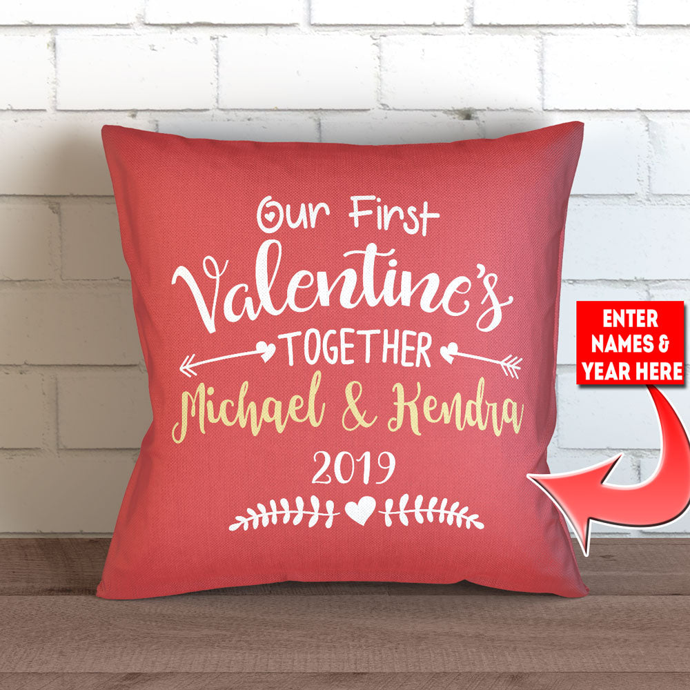 Schön Personalized Our First Valentineu0027s Together Throw Pillow Cover