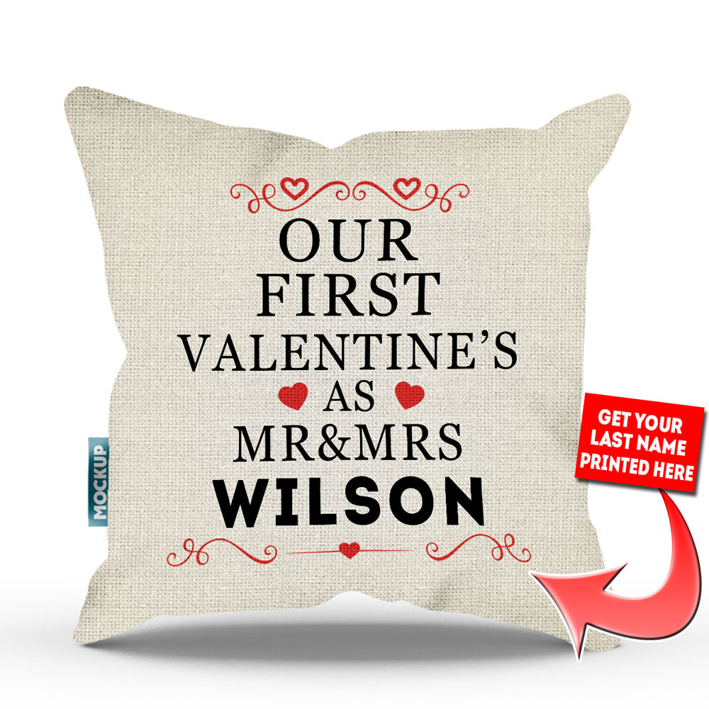 personalized our first valentines as mr mrs throw pillow cover