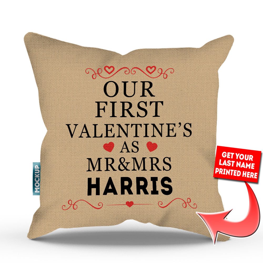 personalized our first valentines as mr mrs throw pillow cover - Valentine Pillow