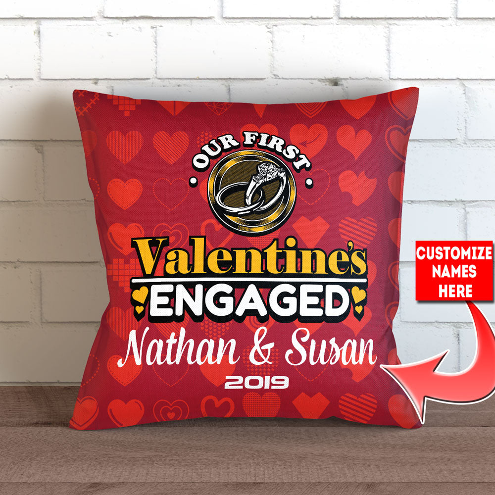 Personalized First Valentines Engaged Throw Pillow Cover