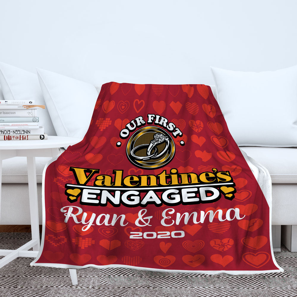 Personalized First Valentine's Engaged Blanket - Style 1