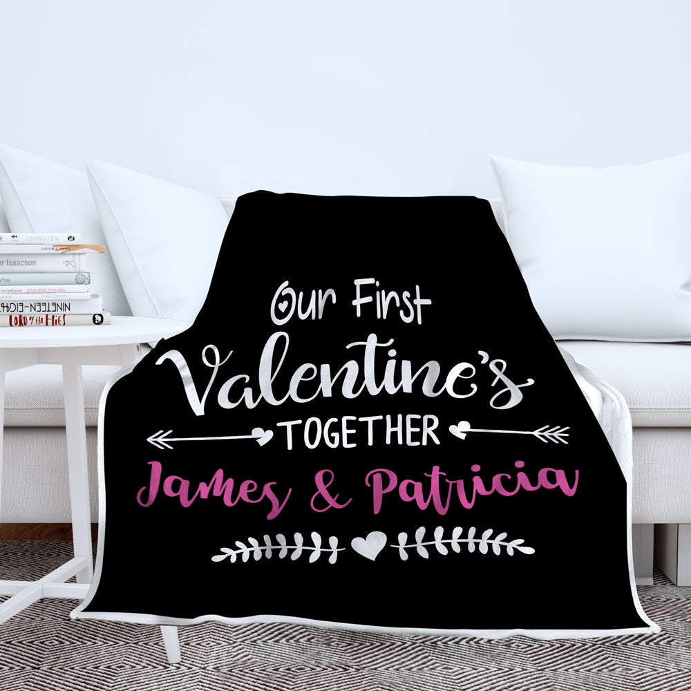 Personalized Our First Valentine's Together Blanket - Style 1