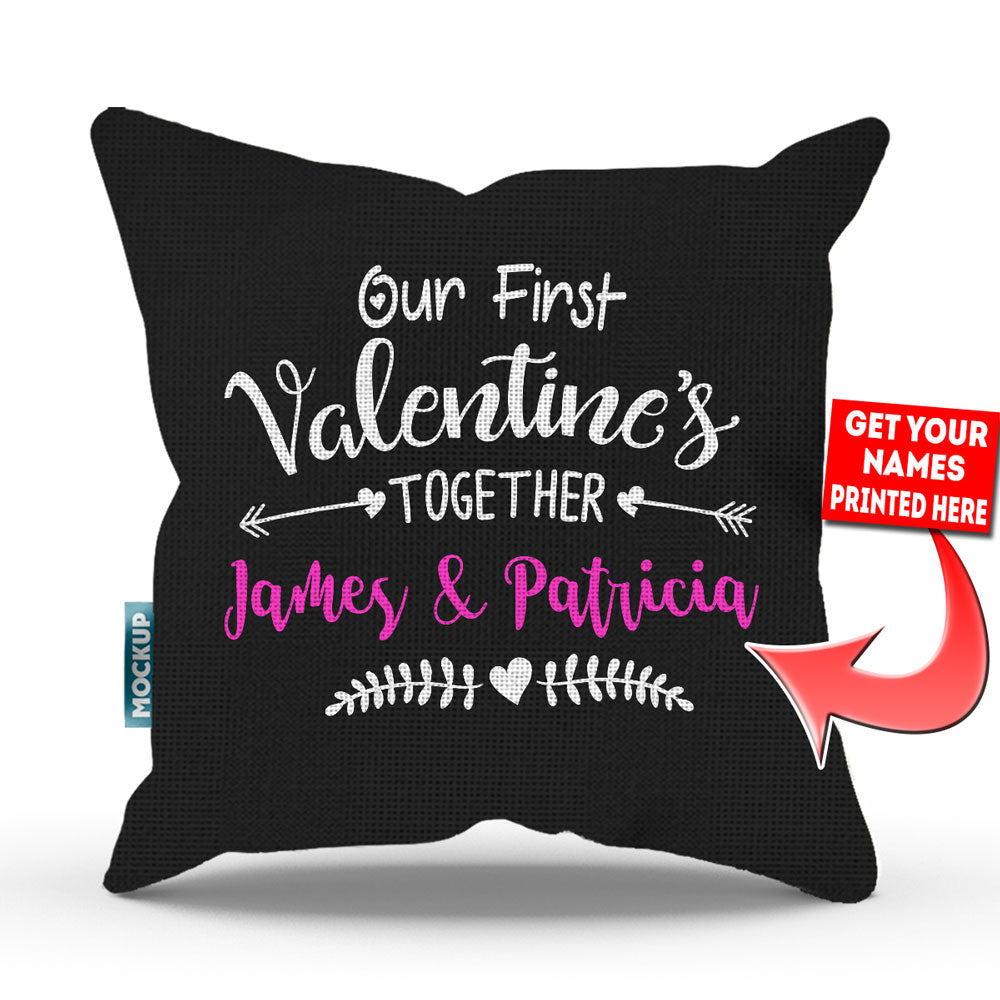 Personalized Our First Valentine's Together Throw Pillow Cover