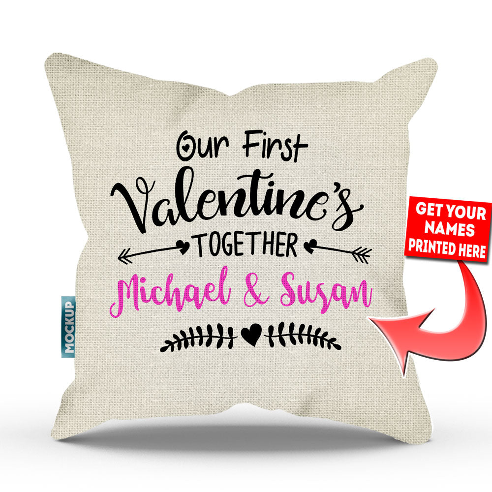 Personalized Our First Valentineu0027s Together Throw Pillow Cover