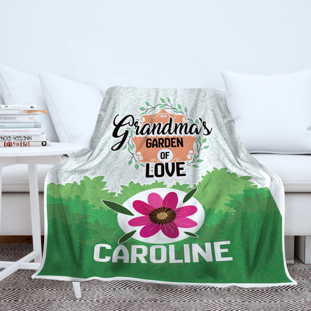 Personalized Grandma's Garden Of Love Blanket