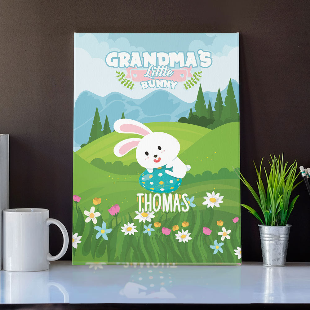 Personalized Grandma's Little Bunnies Wall Art Canvas