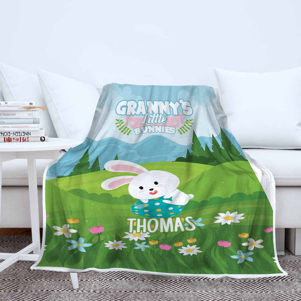 Personalized Grandma's Bunnies Blanket