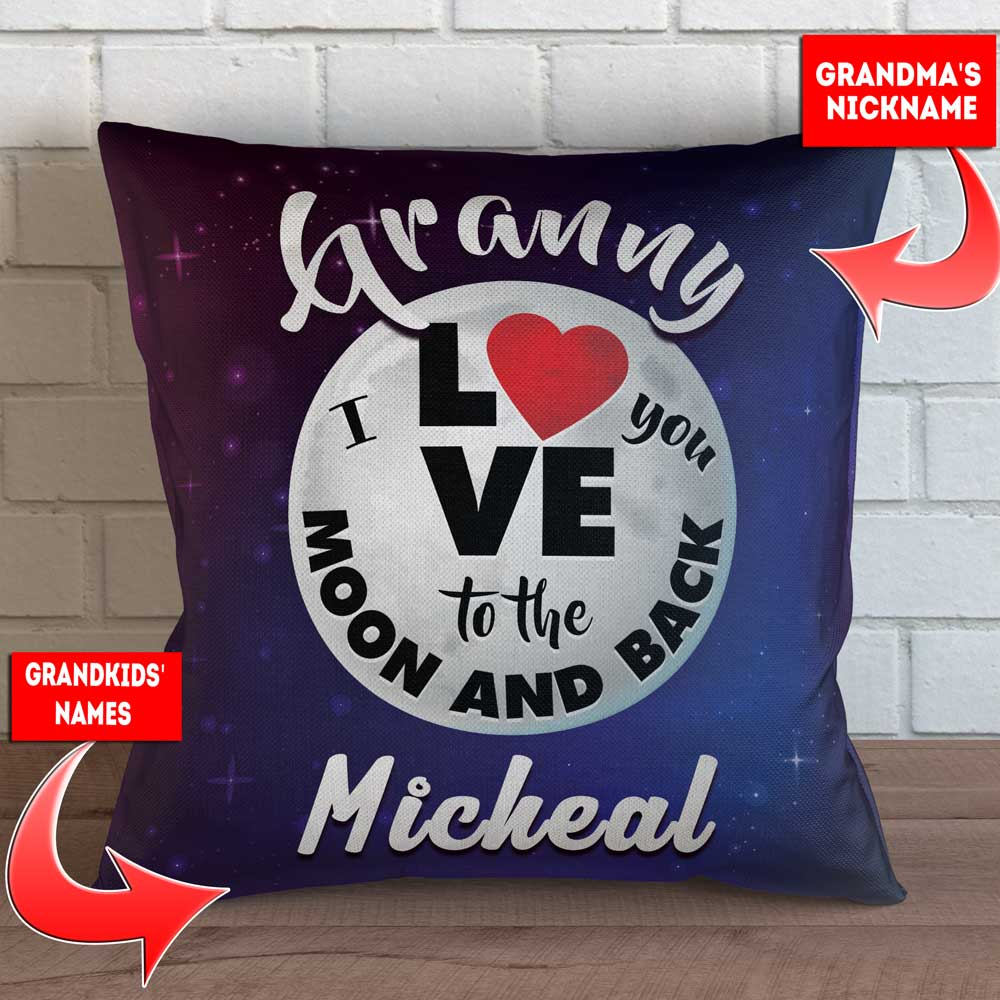 "Personalized Grandma - Love You To The Moon and Back Throw Pillow Cover - 18"" X 18"""