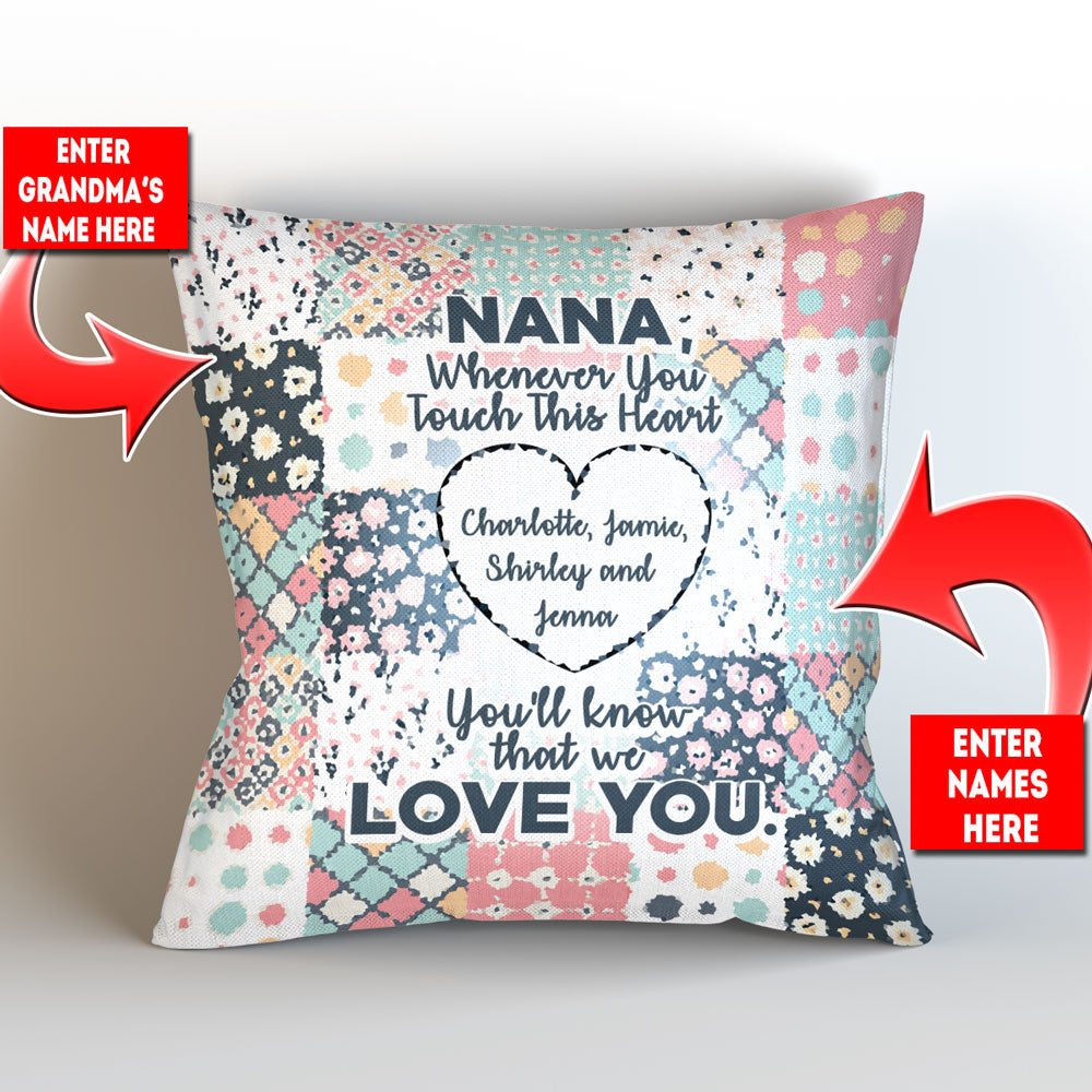 "Personalized Grandma Whenever You Touch This Throw Pillow Cover - 18"" x 18"""