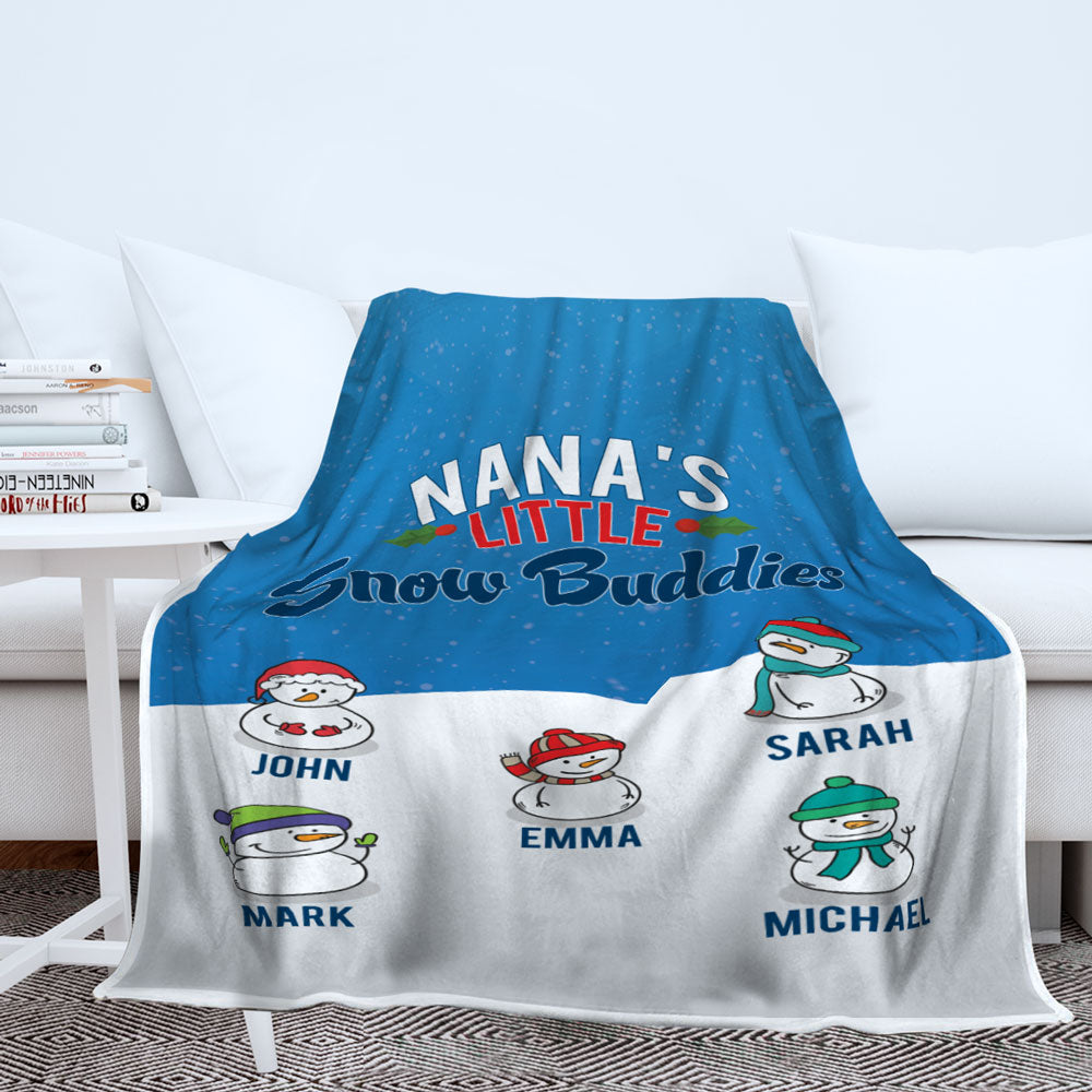 Personalized Grandma's Little Snow Buddies Blanket