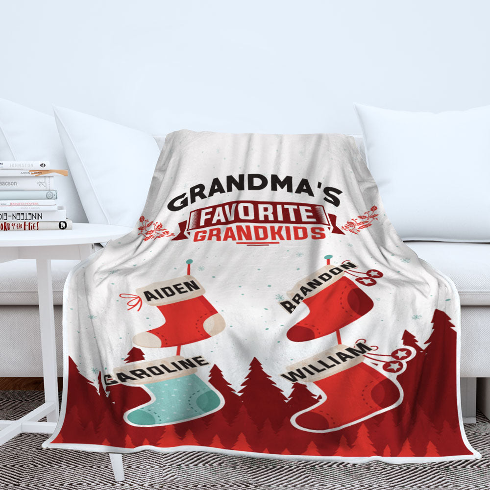 Personalized Grandma's Favorite Grandkids Stocking Blanket