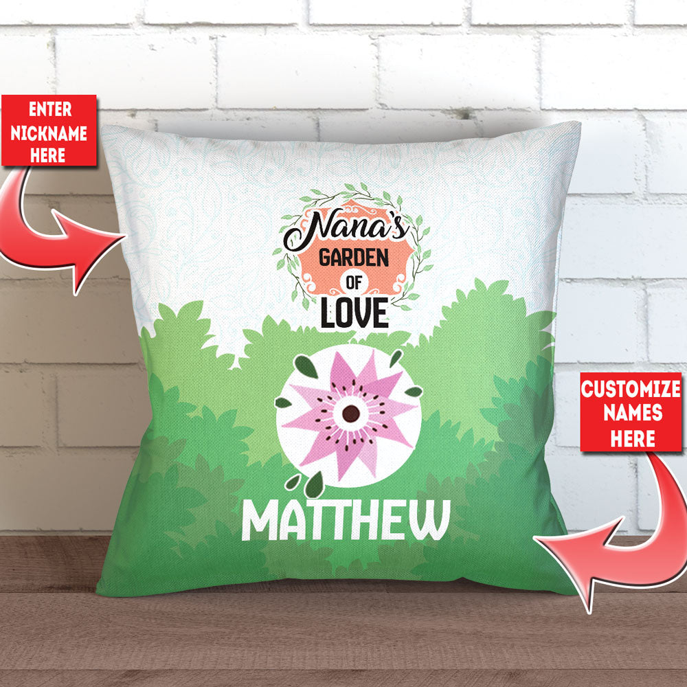 "Personalized Grandma's Garden Of Love Pillow Cover - 18"" x 18"""
