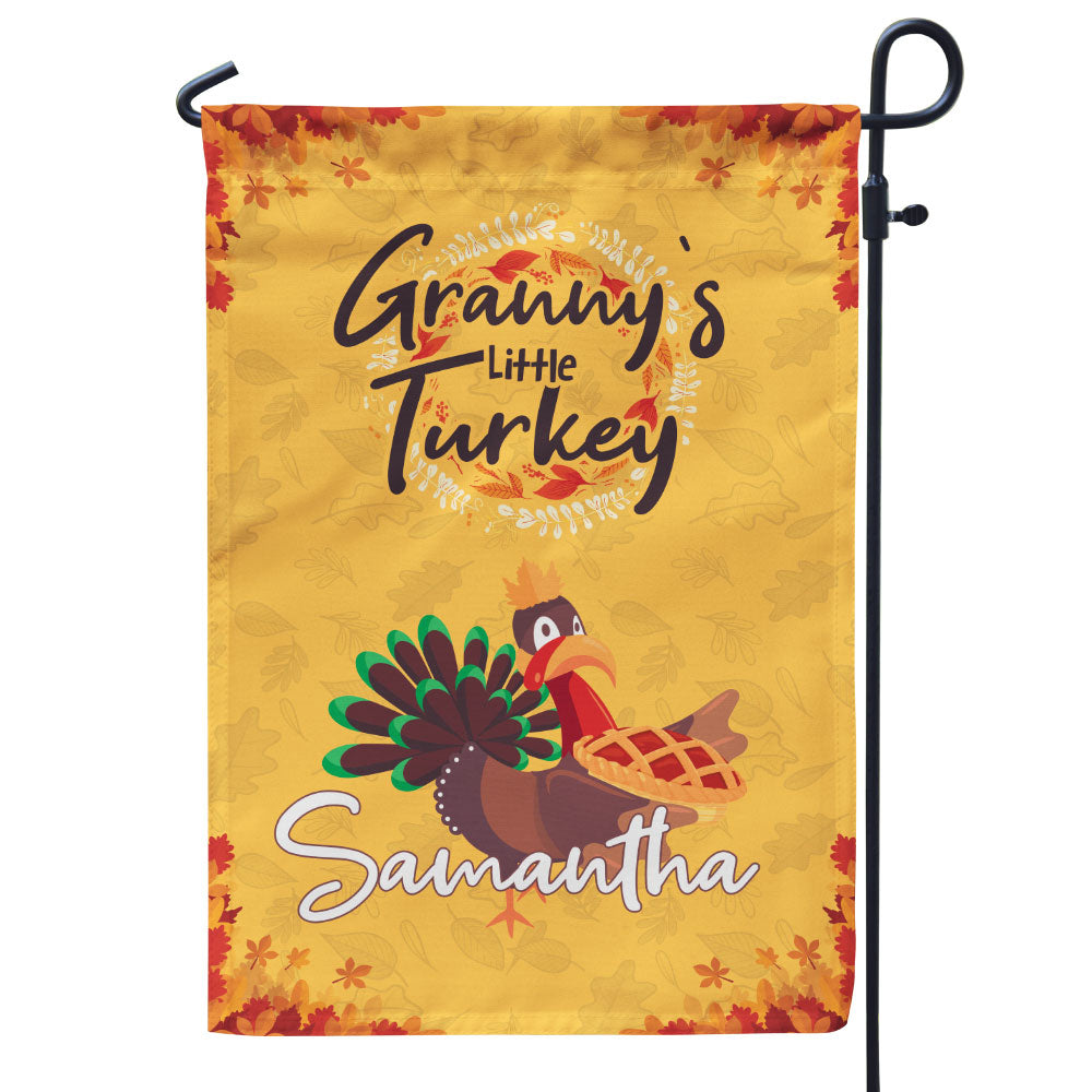 Personalized Grandma's Little Turkeys Flag