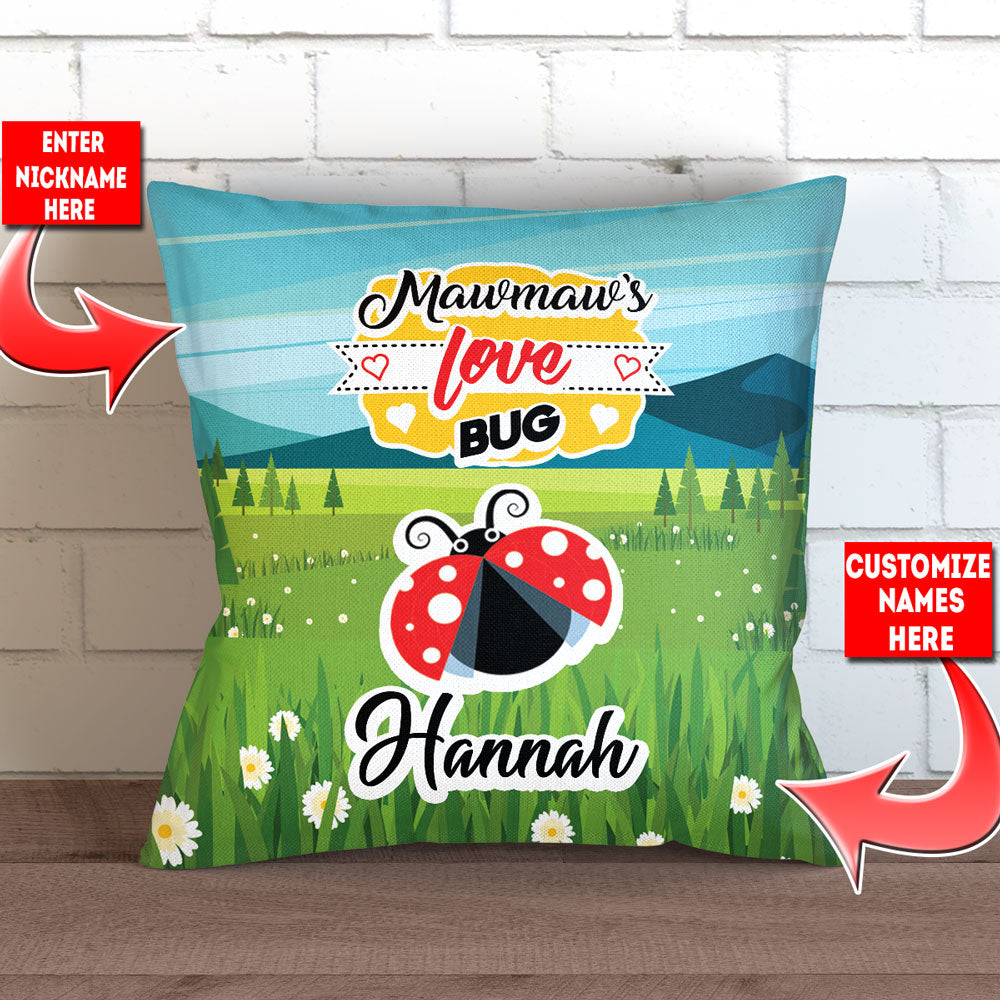 "Personalized Grandma's Love Bugs Pillow Cover - 18"" x 18"""