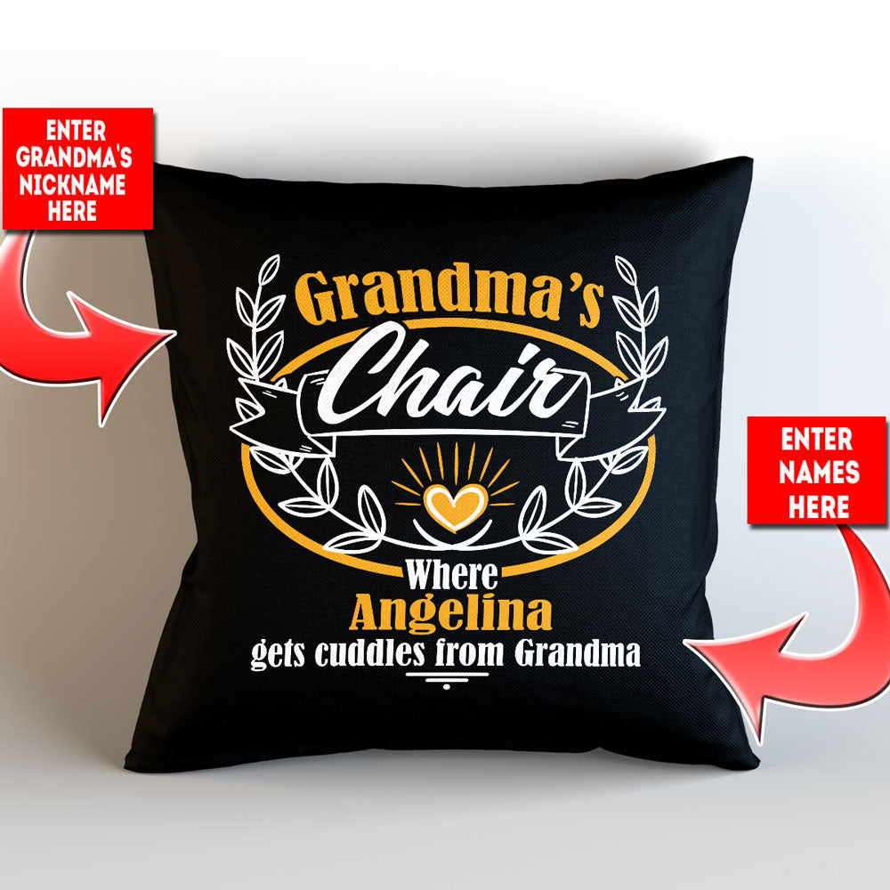 "Personalized Grandma's Chair Throw Pillow Cover - 18"" x 18"""