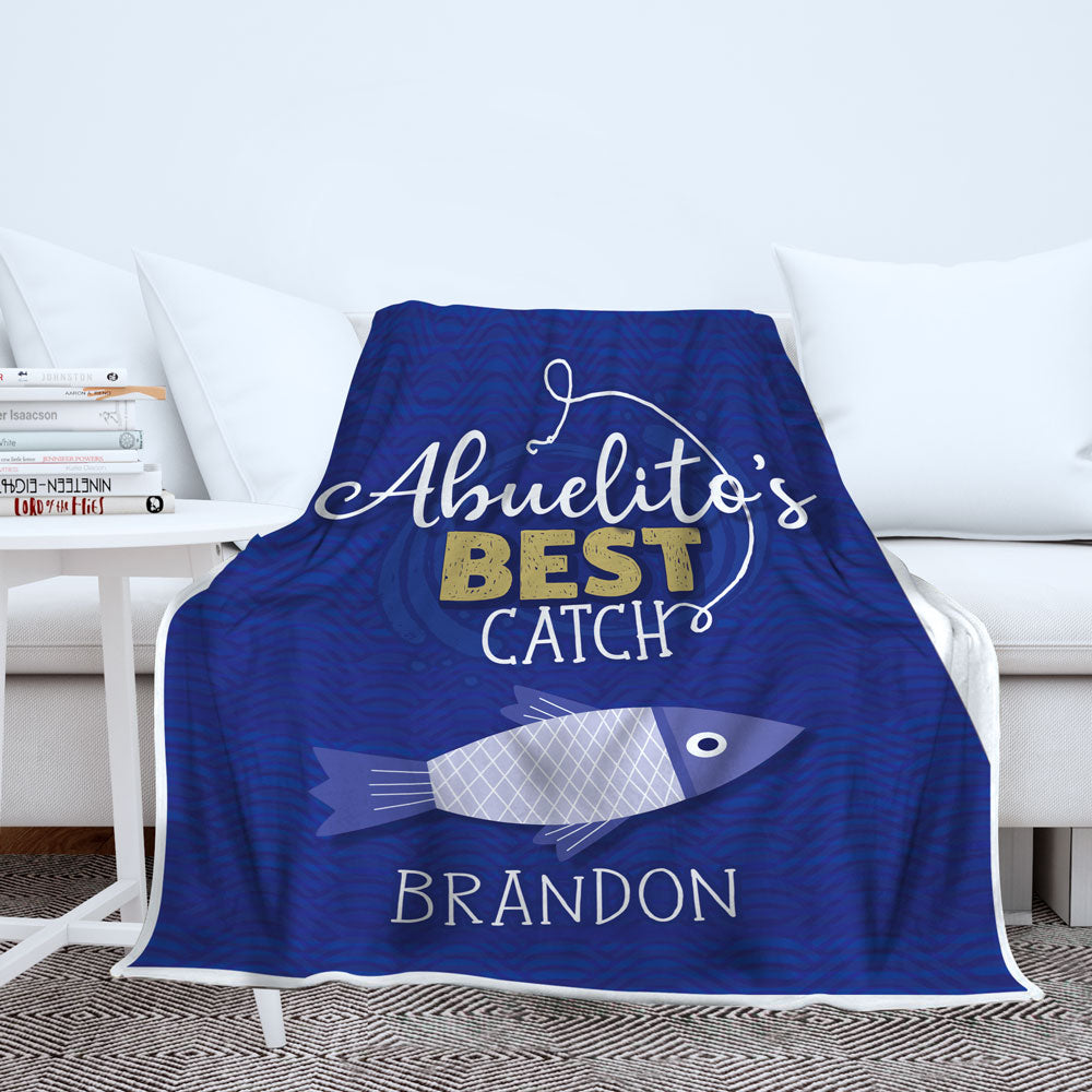 Personalized Grandpa's Best Catch Blanket