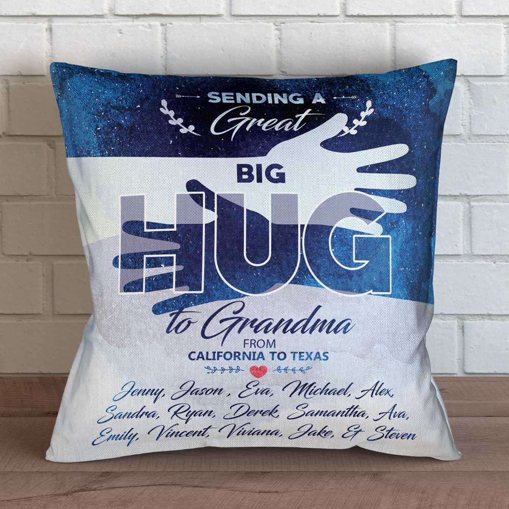 "Personalized Great Big Hug to Grandma Throw Pillow Cover - 18"" X 18"""